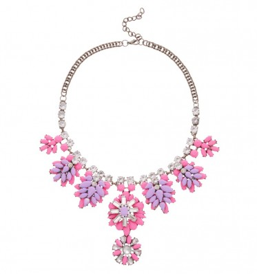Purple Pink Bejeweled Necklace