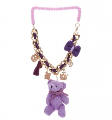 Purple Teddy Bear Necklace