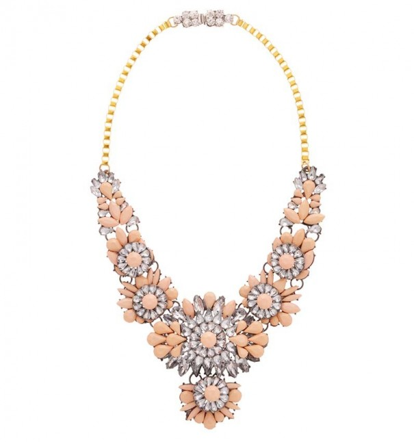 Apricot Faux Gem Statement Necklace
