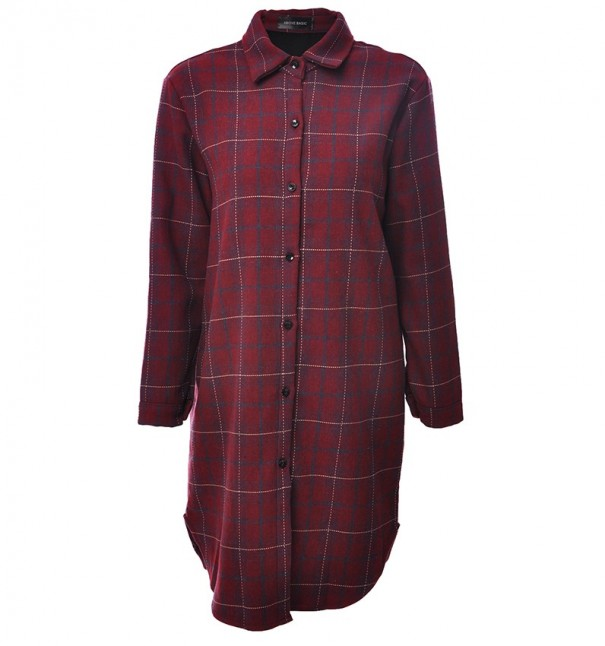 Red Plaid Fleece Shirt Dress