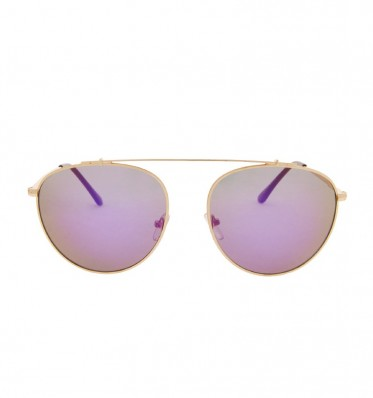 Purple Mirror Brow-bar Aviator Sunglasses