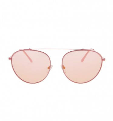 Pink Mirror Brow-bar Aviator Sunglasses