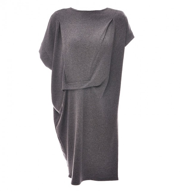 Marled Grey Contemporary Waist Detail Dress