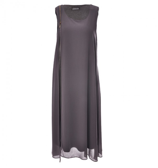 Grey Zip Shoulder Detail Maxi Dress