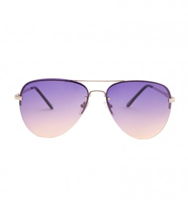 Grey Pink Gradient Aviator Sunglasses
