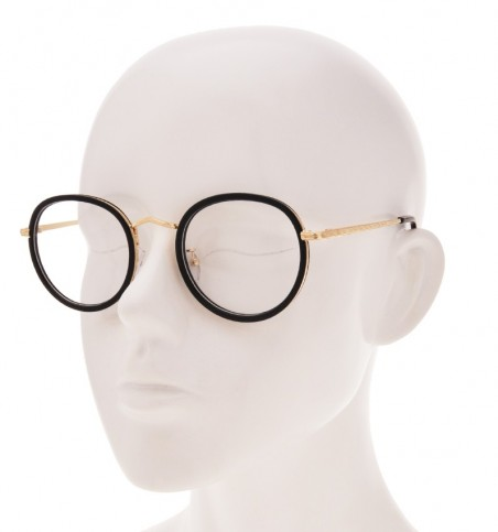 Black Gold Engraved Round Glasses