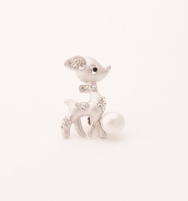 Silver Deer Brooch