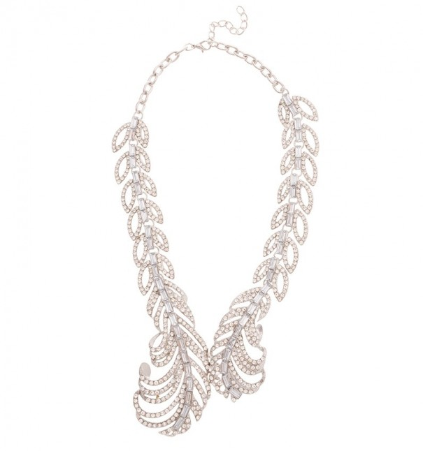 Rhinestoned Feather Collar Necklace